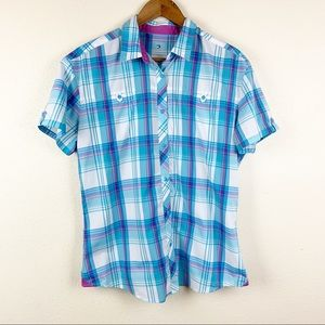 Kuhl Short Sleeve Button Front Plaid Camp Shirt